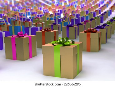 many gift boxes