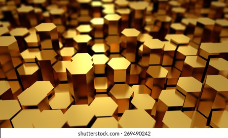 Many golden metal hexagons abstract background with focus effect