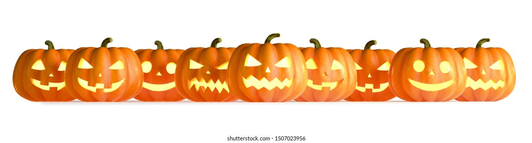 Many Halloween Pumpkins in a row isolated on white background. 3D Rendering illustration