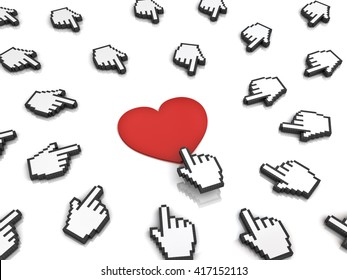 Many hand cursors mouse clicking red heart button or link isolated on white background.3D rendering.