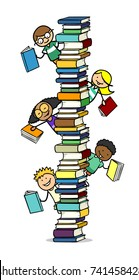 Many happy children behind a high stack of school books
