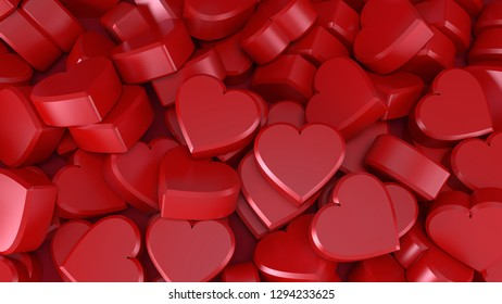 many hearts for valentine's day red love romantic backgound 3D illustration