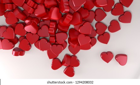 many little hearts for valentine's day red love romantic backgound 3D illustration