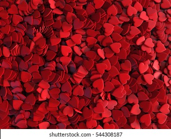 Many Little Red Hearts. Romantic Background. 3D Illustration