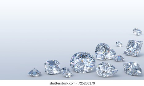 Many loose diamonds of various cutting styles along corner on light blue background, close-up view of round brilliant, heart, asscher, pear, marquise, princess, single cut. 3D rendering illustration