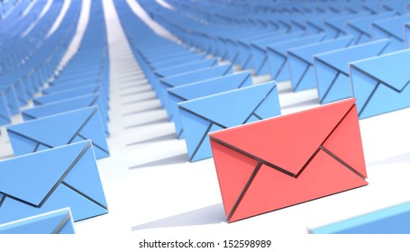many mail (email). abstract. 3d.