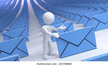 many mails with 3d man