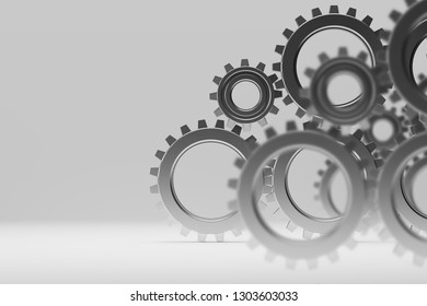 Many metal gears over gray background. Concept of cooperation and teamwork in business. 3d rendering
