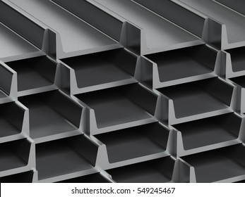 many metal sills of stock. 3D render