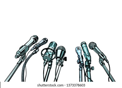 many microphones interview background. Pop art retro  illustration kitsch vintage drawing