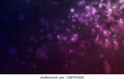 Many mini glitters and flare light floating from side scene on dark purple background