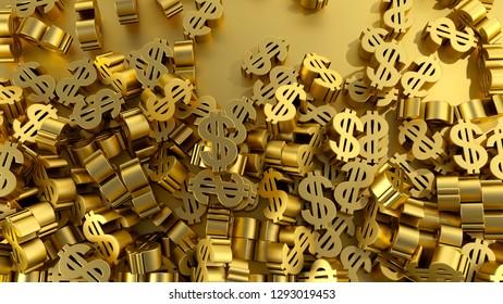 many money dollar sign gold profit income financial economy 3D illustration