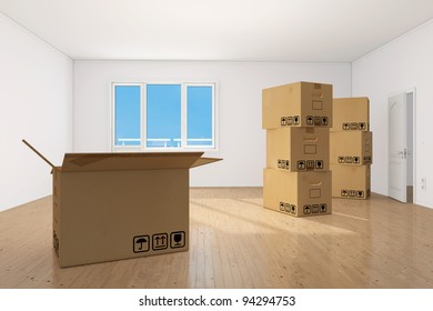 Many moving boxes in bright clean empy apartment room