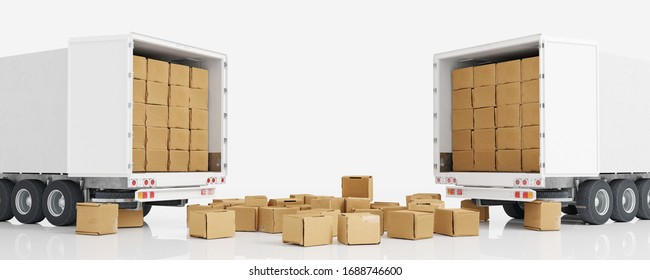Many moving boxes in front of trucks from a freight forwarder or moving company (3D Rendering)
