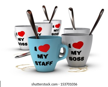 Many mugs where it is written I love my staff and my boss, symbol of staff relations and motivation in workplace.