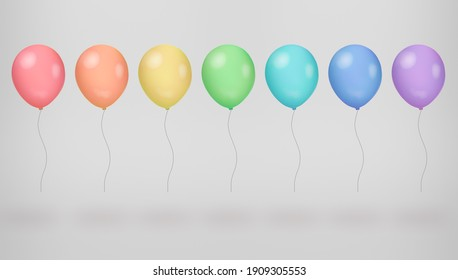 many multi-colored fly balloon on grey background. Color palette concept