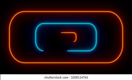 Many neon rounded rectangles in black space, abstract computer generated backdrop, 3D rendering