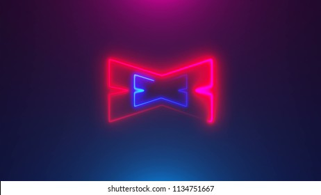 Many neon X shapes in space, abstract computer generated backdrop, 3D rendering backdround