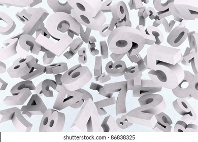 many numbers in the air, 3d illustration