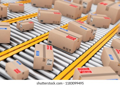 Many Parcel Cardboard Boxes over Roller Conveyor Lines extreme closeup. 3d Rendering.