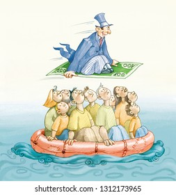 many people risk the life on raft to emigrate alone a rich flies over border on board of a flying banknote political cartoon