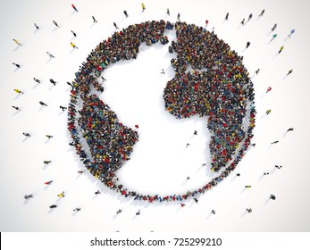 Many people together around the world. 3D Rendering