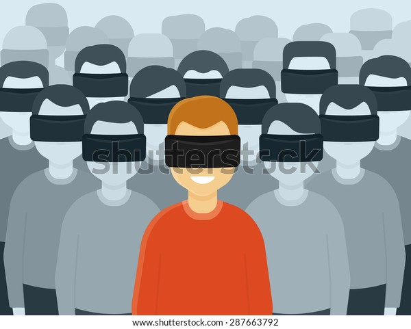 Many people wearing virtual reality helmet. Conceptual illustration of future generation