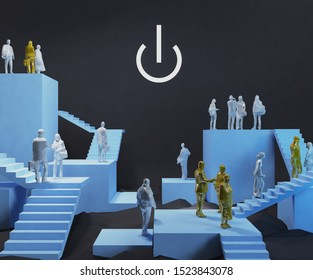 Many people's lives lead to the end of working age.3d rendering,illustration
