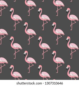 Many pink flamigos in the illustration on the gray background