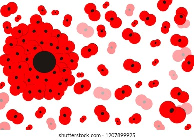 Many poppies together forming a large poppy surrounded by many others of smaller sizes.Poppy appeal illustration