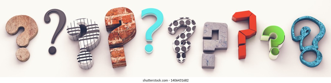 Many questions icon.3d illustration.Questions mark isolated over white background.Concept of doubts and questions