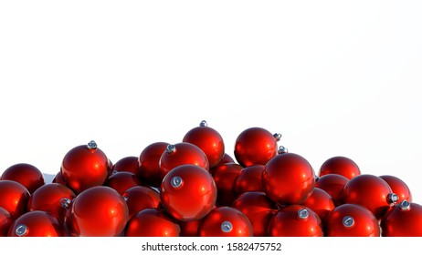 many red christmas balls heap on white background 3D illustration