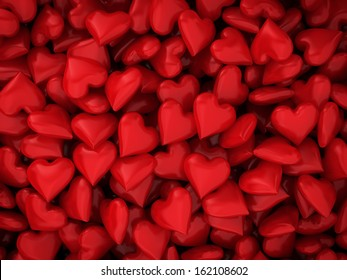 Many red hearts. 3d background