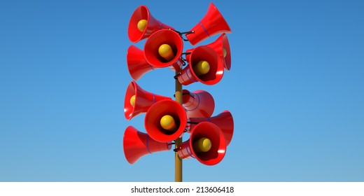 Many red speakers on the background of blue sky, 3d render