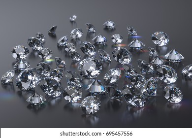 Many round brilliant cut diamonds laying on rough dark gray mirror background. 3D rendering illustration