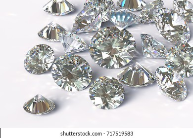 Many round cut diamonds on white background. Close-up 3D rendering illustration