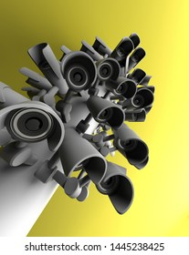 Many security cameras on the city pillar, big brother watching you. Surveillance CCTV camera. 3D rendering.