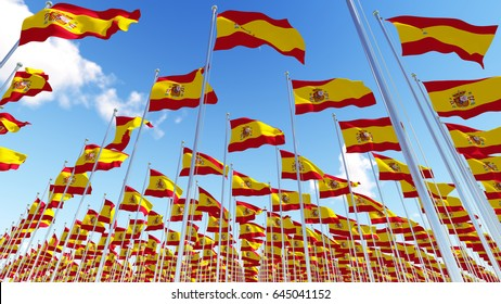 Many Spain Flags on flagpoles against blue sky. View from below. Three dimensional rendering illustration.3D illustration