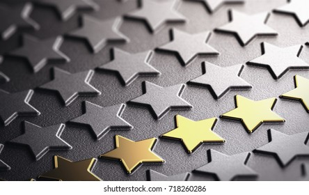 Many stars in relief on black paper background with focus on five golden ones. Concept of company reputation and business excellence. 3D illustration