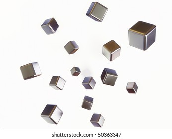many steel cube isolated on white background