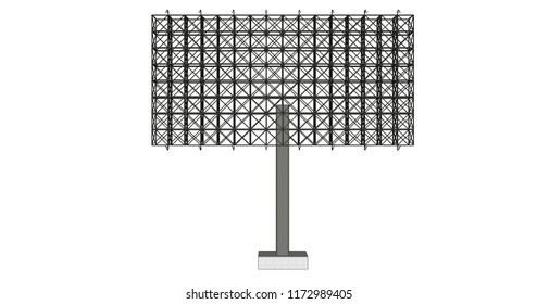 Many view of 3D rendering blank advertising billboard steel structure can be use for advertising design or send message to public or any purpose on pubic relations or PR isolated on white background.