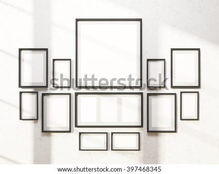Many White Frames On Wall Symmetrical Stock Illustration 397468345 ...
