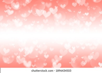 Many white hearts of different sizes on a peach background, abstraction
