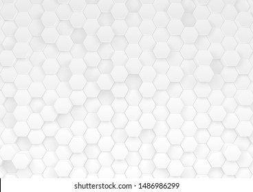 Many white hexagon backgrounds have shallow and deep images. 3d image