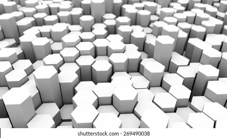 Many white hexagons abstract background with focus effect