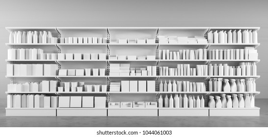 Many white products on the shelf in the supermarket to choose from (3D Rendering)
