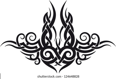 Maori styled tattoo patterns fit for top or bottom back. Raster. Check my portfolio for a vector version.