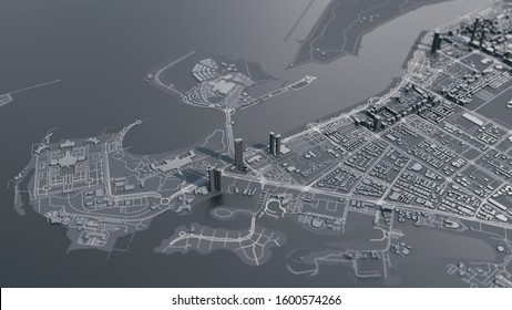 Map of Abu Dhabi city. 3d illustration