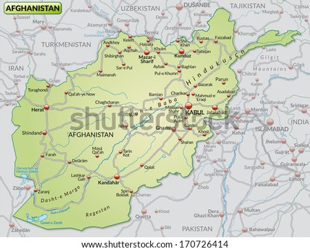 Map Afghanistan Highways Pastel Green Stock Illustration - Royalty ...