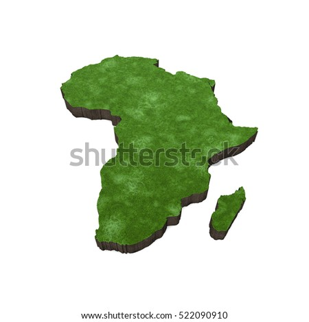 3d Map Of Africa Project.Royalty Free Stock Illustration Of Map Africa Grass Soil 3 D